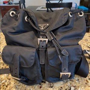Prada Vela Nylon leather backpack black